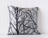 Decorative pillow, metallic silver pillow, tree pillow, black fabric pillow, silver fabric pillow,silver pillow
