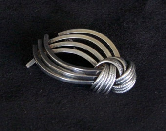 Mid Century 1950's Grosse Vintage Sterling SIlver Abstract Brooch