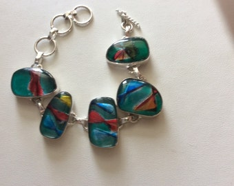 Dichroic Glass Sterling Silver Bracelet