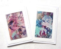 """TWO 4"""" x 6"""" Encaustic Art Abstract Greeting Cards 008."""