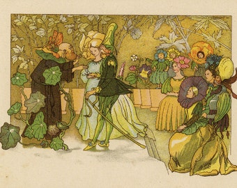 Original Antique German Fairy Tale Print from Children Fairy Tale book.  Very nice ready to be framed. People Dressed in Flowers  plants