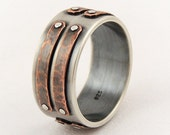 Silver copper men's ring - mens wedding band,engagement ring,unique mens ring,rustic ring