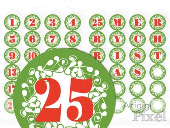 Printable Advent Calendar, Number 1-25 And Letters MARRY