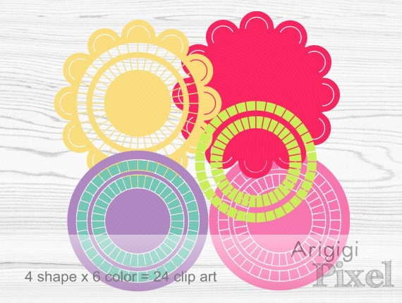 scalloped circle digital clip art set, mix and match round frames, spring colors, small business use, download