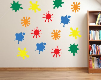 Kids Paint Blobs Wall Stickers Kids Nursery Play Room Home Art Decoration Children Decals Removable Handmade School Bedrooms Bright VC-A26