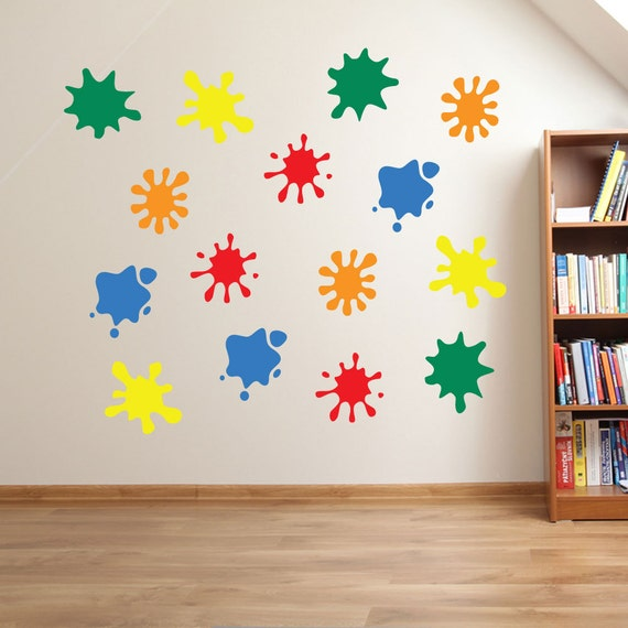 Kids paint blobs wall stickers kids nursery play room home art for Art room decoration school