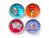 Magnetic Chore Chart - Bottle Cap Magnets - Individual Chore Magnets