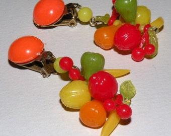 Vintage FRUIT Clip Earrings