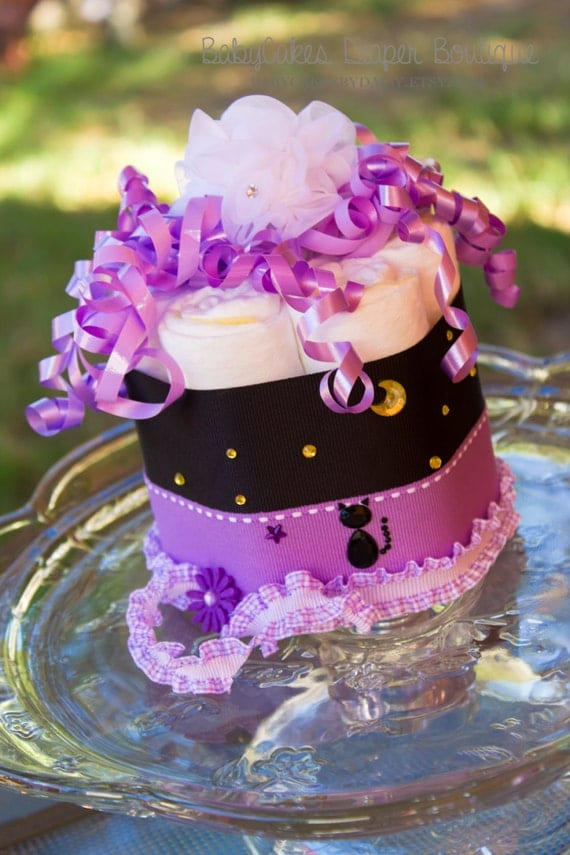 Halloween Mini Diaper Cake | Halloween Baby Shower Decoration |  Baby Shower Gift | Purple and Black Diaper Cake