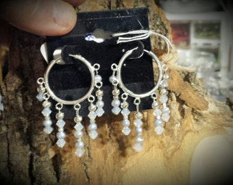 Sterling Silver Hoop or Loop Earrings with Tiny Baby Blue Freshwater Pearls and Iridescent White Swarovski Crystals