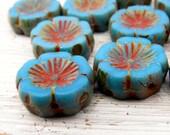 Maya Blooms - 14mm, vibrant maya blue czech table cut flower beads with Picasso finish (6), czech glass beads, uk beads, pansy Hawaiian