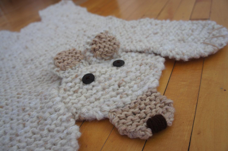 Bear Rug Knitting Pattern : Hand knit inch off white polar bear rug mat blanket