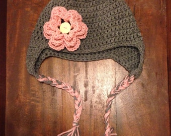 Crochet Flower Winter Hat