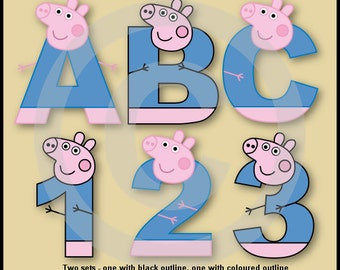 George (Peppa) Alphabet/Letters & Numbers Clip Art Graphics
