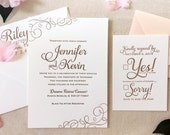 The Casablanca Suite - Classic Letterpress Wedding Invitation Suite Gold ink, Blush, Pink, White, Modern, Calligraphy, Script, Swirls