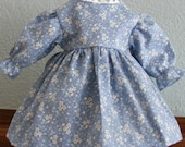Classic Light Blue Floral Dress for 20 inch Raggedy Ann Doll