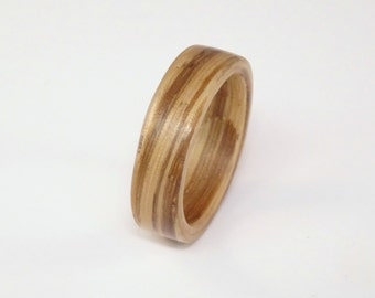 Zebrano Bent Wood Ring - Hand Made Rings In Any UK or US Size.