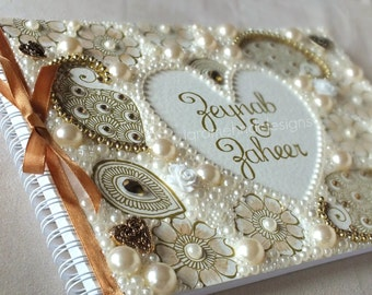 Personalised Indian Wedding Guest-book | Ivory Gold Paisley Henna Mehndi | Asian Indian Bollywood Glam