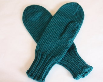 Knit Kids Mittens - Turquoise Mittens for Kids - Teal Mittens on String - Pagoda Mittens - Kids Winter Mittens with Cord