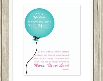 Baby girl nursery art, balloon, Peter Pan nursery, nursery quote, baby girl wall art, nursery decor, custom colors