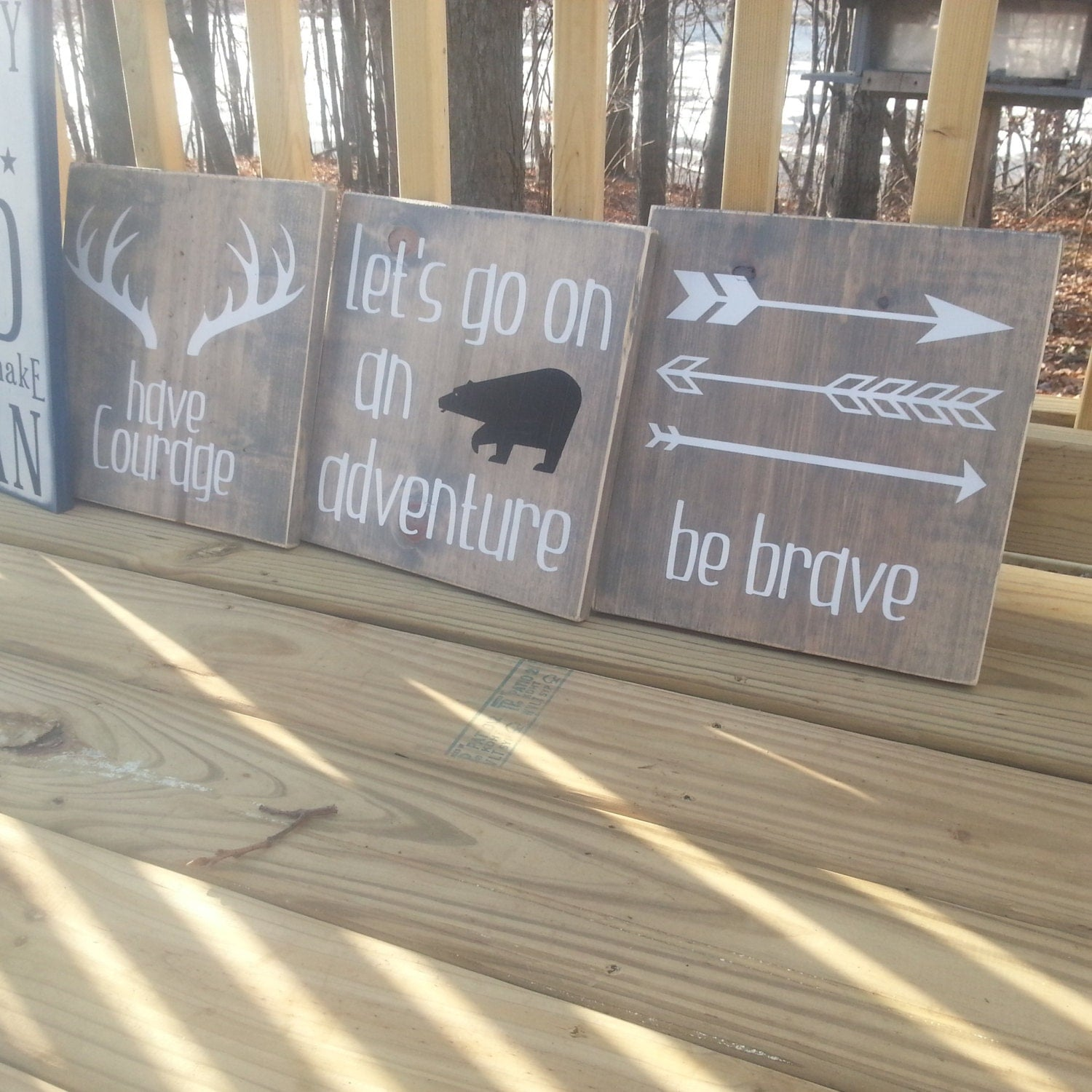 Transitional Nursery With Rustic Wood Wall: Woodland Bedroom / Nursery Signs Rustic Wall Art By