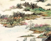 Chinese art prints, spring nature landscape watercolor painting FINE ART PRINT, china vintage antique paintings, wall posters, home decor