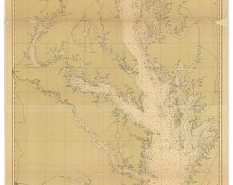Chesapeake Bay - 1904 Nautical Map - Reprint -   Maryland & Virginia Harbors 79