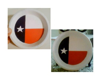 Texas Flag Handpainted Terra Cotta Coasters