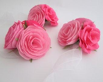 Paper Flower Corsage/ Wrist Corsage/ Wedding Corsage/ Bridal Shower/ Peper Flower Corsage/ Pink Corsage