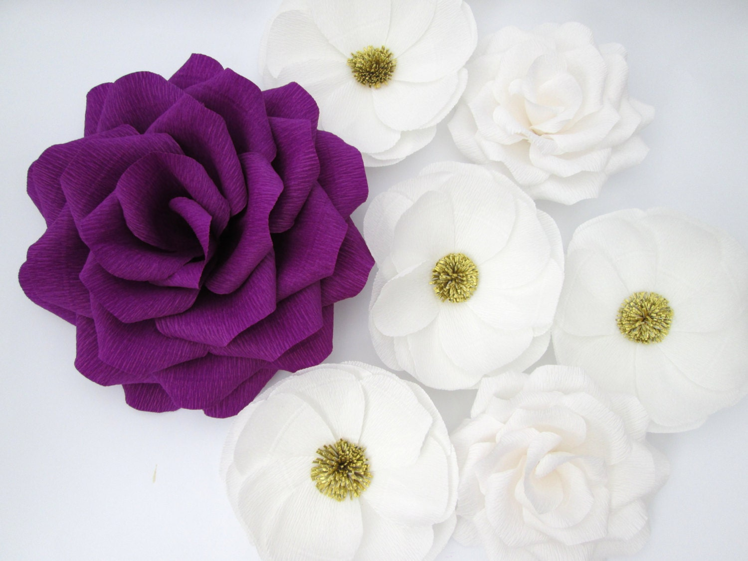 7 large paper flowers large paper roses wedding for Decoration flowers