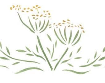 Herb Dill Border Stencil