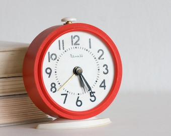 Red Alarm Clock, Vintage Table Clock, Vityaz Soviet Clock, White and Red