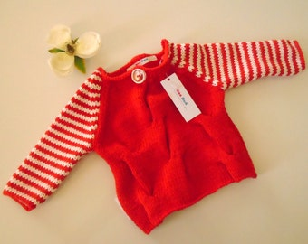 Hand Knitted Red Cotton Loose Cable Baby Sweater/Jumper - Ready to Ship!
