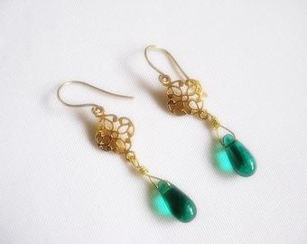 Petite Green Briolette Dangle Earrings