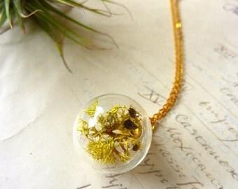 Lichen Terrarium Necklace - Glass Orb Pendant - Botanical Specimen