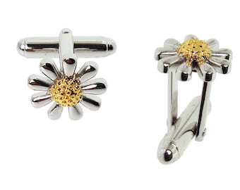 Silver daisy cufflinks with 18ct gold vermeil centres.