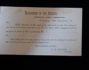 Late 1800's Vintage Postcard From The Department of The Interior Canada