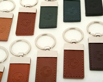 Leather keychain // black, brown, blue, green (italian calf leather) - FREE SHIPPING, unique piece