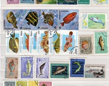 Lot 50 FISH Stamps Worldwide Collection, Mostly pictorials, Ocean fish, Postage Stamps, Paper Crafts, Fish Themed Stamps, Scrapbooking