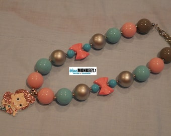 Mermaid Pink Hair Chunky Bead Necklace - RTS