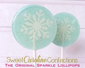 Frozen Favors, Snowflake Lollipops, Frozen Themed, Hard Candy Lollipops, Party Favors, Lollipops, Sweet Caroline Confections-Set of Six