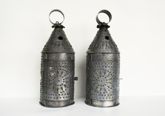 Punched Tin Candle Holder Rustic Tin Lantern Rustic Candle