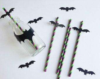 25 Cannucce di Carta di Halloween con tag pipistrello  / Halloween Paper Straws With Bats Set of 25