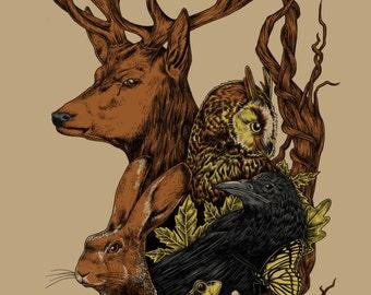 Fauna in the Fall Silkscreen Print