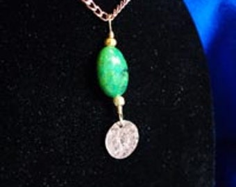 Pendant - Green Oval Glass Bead with Stamped Copper Leaf - FREE SHIPPING
