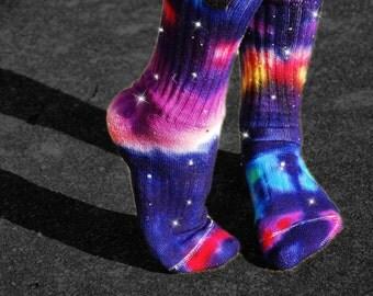 Star Bursts Galaxy Tie Dye nike Socks, Hand Dyed fashion accessories, Swarovski Crystal Stars, Free Hand Art, Bright and fun Tie Dye, school