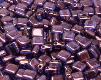 40pcs Czech Glass Beads Tile Two-Hole, Flat Square 6x6x2.9mm Crystal Vega (TL1046)