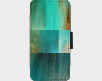 Fantasy Ocean Collage Smartphone Flip Case for iPhone Samsung Sony LG Nexus HTC Photography Fine Art abstract blue green orange  turquoise