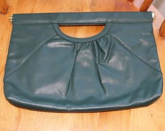 Green BAG BAZAAR Faux Leather Clutch 1960's