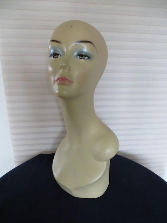 Vintage Fiberglass Mannequin Head Hat Stand